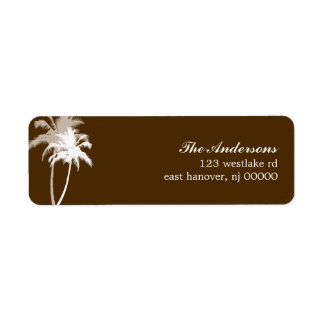 Brown Palm Trees Tropical Beach Wedding Label