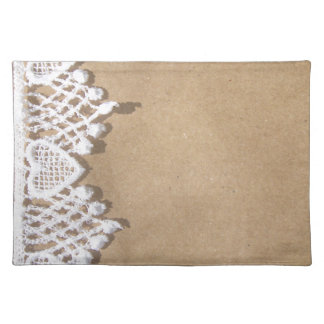 Brown Paper and Lace Hearts Placemats