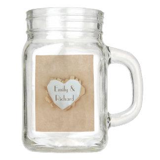 Brown Paper Bag Rustic Heart Wedding Party Mason Jar