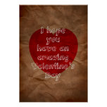 Brown paper bag valentine card posters