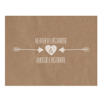 Brown Paper Inspired Arrows Save The Date - White Postcard
