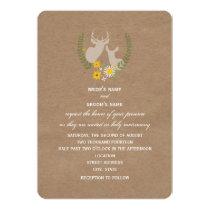 Brown Paper Inspired Wildflower Deer Wedding Card
