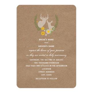 Brown Paper Inspired Wildflower Deer Wedding Personalized Invitation