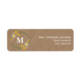 Brown Paper Inspired Wildflower Wreath Monogram Return Address Label