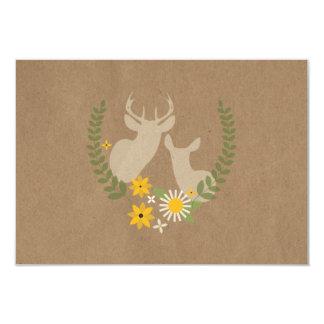 Brown Paper Inspired Wildflowers & Deer RSVP Card