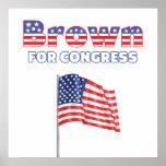 Brown para el diseño patriótico de la bandera amer impresiones