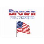 Brown para el diseño patriótico de la bandera amer postal