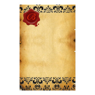 BROWN PARCHMENT DAMASK , RED WAX SEAL MONOGRAM STATIONERY