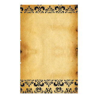 BROWN PARCHMENT DAMASK STATIONERY