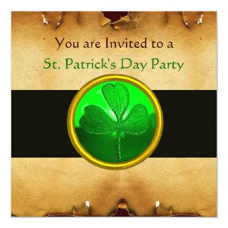 BROWN  PARCHMENT & GREEN SHAMROCK JEWEL ,black Invitation