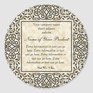 Brown Parchment Paper Style Label With Frame