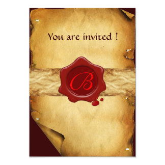 BROWN PARCHMENT ,RED WAX SEAL MONOGRAM 5X7 PAPER INVITATION CARD