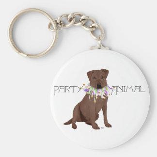 Brown Party Animal Labrador Retriever Basic Round Button Keychain