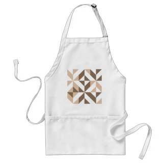 Brown Patchwork Geometric Deco Cube Pattern Apron