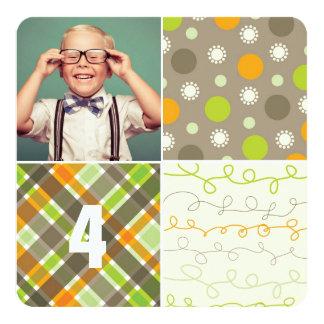 Brown Patchwork Pattern Squares Boy Photo Birthday Card