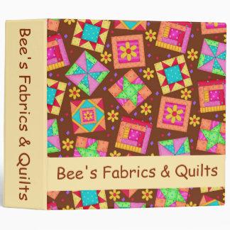 Brown Patchwork Quilt Art Custom Business 3 Ring Binder