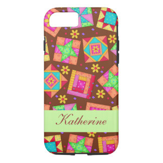 Brown Patchwork Quilt Block Art Name Personalized iPhone 7 Case