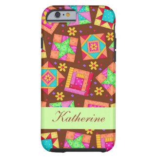 Brown Patchwork Quilt Block Art Name Personalized Tough iPhone 6 Case