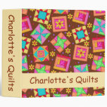 Brown Patchwork Quilt Name Personalized Album 3 Ring Binder