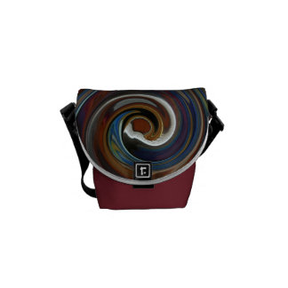 Brown Patchwork Swirl Messenger Bag - Small