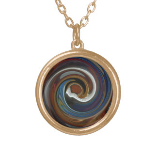 Brown Patchwork Swirl Necklace