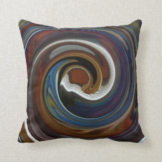 Brown Patchwork Swirl Throw Pillow