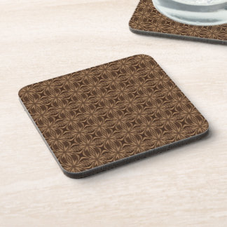 Brown Pattern Plastic Cork Back Coaster Set