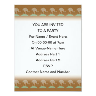 Brown Pattern with Birds. 4.25x5.5 Paper Invitation Card