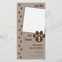 Brown Paw Print Birthday Invitation