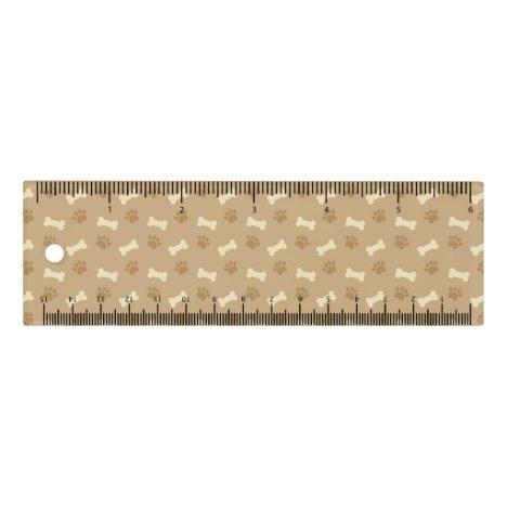 Brown Paw Print Bone Pattern