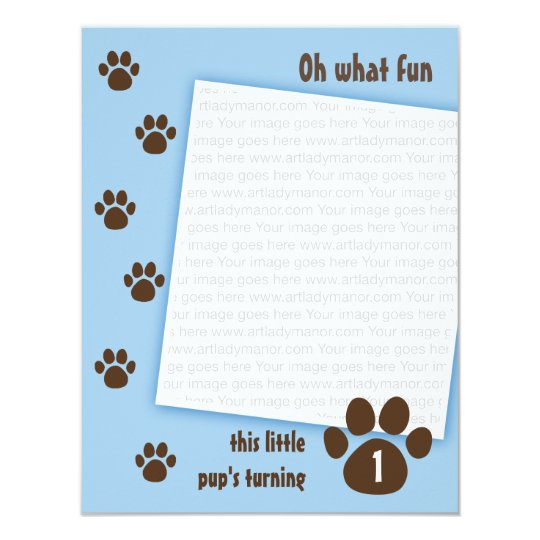 Brown Paw Print on Blue Birthday Card