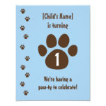 Brown Paw Print on Blue Birthday Personalized Announcements