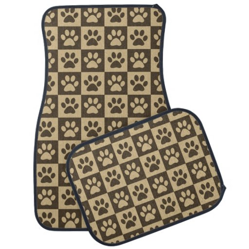 Brown paw prints pattern car floor mat zazzle for Floor prints
