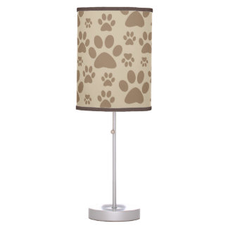 Brown Paw Prints Pattern Desk Lamps