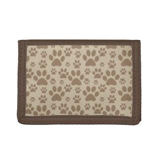 Brown Paw Prints Pattern Tri-fold Wallet
