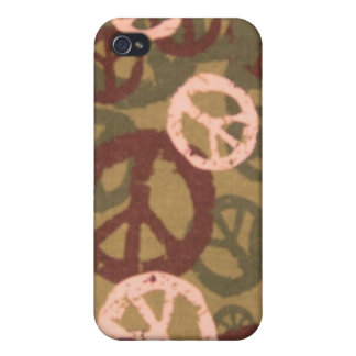 Brown Peace Sign/Camo Look iphone case Cover For iPhone 4