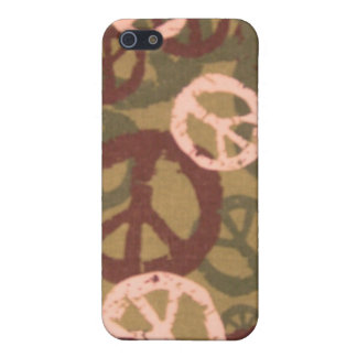 Brown Peace Sign/Camo Look iphone case iPhone 5 Cover