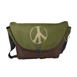 Brown Peace Sign Messenger Bag
