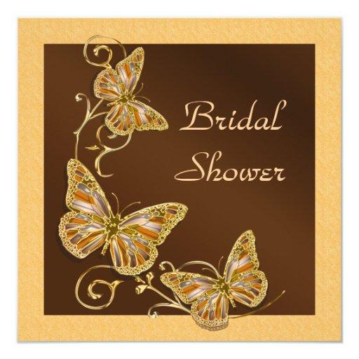 Brown peach gold butterflies invitation