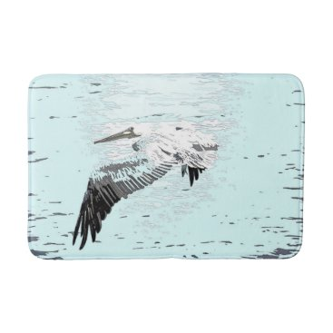 Beach Themed Brown Pelican Bird Wildlife Animal Beach Bath Mat