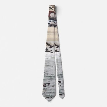 Beach Themed Brown Pelican Birds Beach Town Ocean Fishing Tie