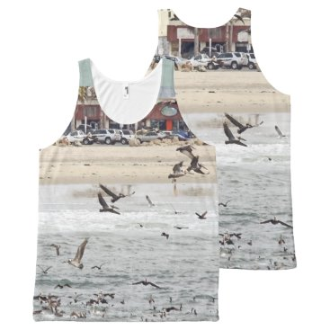 Beach Themed Brown Pelican Birds Wildlife Animals Beach All-Over-Print Tank Top