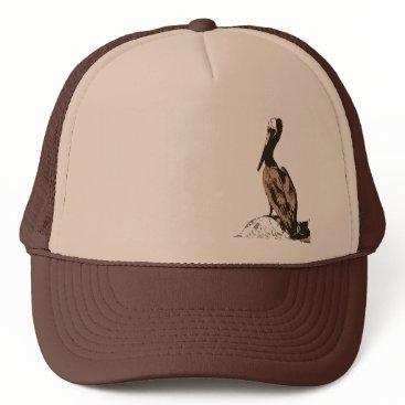 Beach Themed Brown Pelican Birds Wildlife Animals Trucker Hat