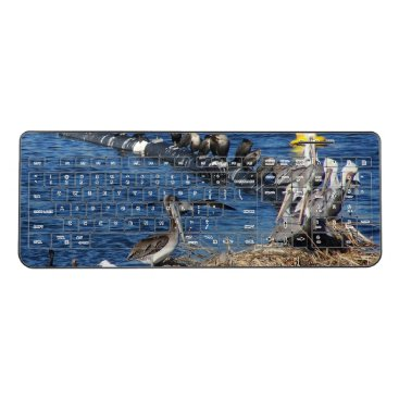 Beach Themed Brown Pelican Birds Wildlife Wireless Keyboard