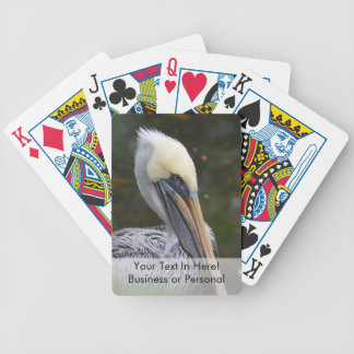 brown pelican head view facing right bird bicycle playing cards