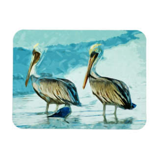 Brown Pelican in Winter Colors Abstract Magnet