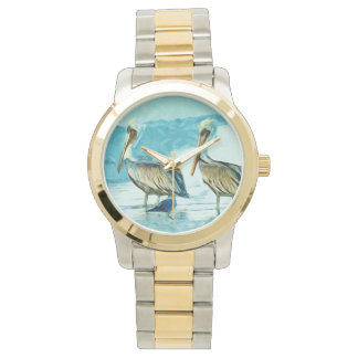 Brown Pelican in Winter Colors Abstract Wristwatches