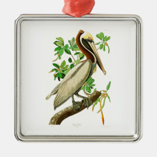 Brown Pelican John James Audubon Birds of America Square Metal Christmas Ornament