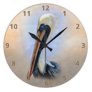 Brown Pelican Large Clock