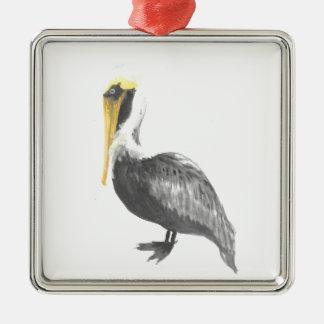 Brown Pelican Metal Ornament